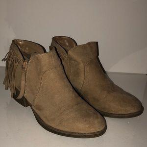 Beige Tassel Ankle Boots